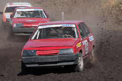 Old broken machines are fighting. Car Race for survival on the Bizon Track Show, Rostov-on-Don 27/09/2016 royalty free stock photos
