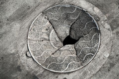 Old broken manhole cover Stock Photography