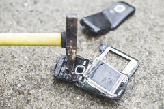 Old broken mobile phone Royalty Free Stock Photo