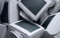 Old broken monitors stock photos