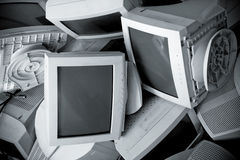 Old broken monitors. Top view Stock Photos