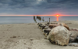Old broken pier at the Baltic Sea Royalty Free Stock Images
