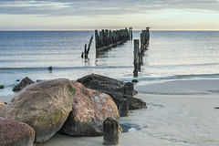Old broken pier at the Baltic Sea Royalty Free Stock Image