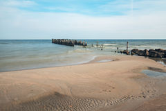 Old broken pier at the Baltic Sea Stock Photo