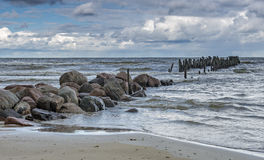 Old broken pier at the Baltic Sea Royalty Free Stock Photography