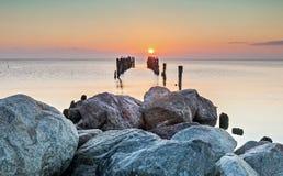 Old broken pier at dawn Royalty Free Stock Photo