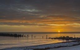 Old broken pier at sunrise Royalty Free Stock Image