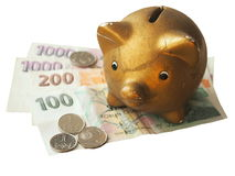 Old broken piggy bank royalty free stock images