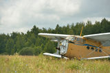 Old broken plane in a field Royalty Free Stock Photos