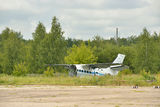 Old broken plane near an abandoned airstrip Royalty Free Stock Images