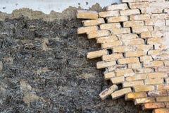 Old broken red brick wall Stock Photo