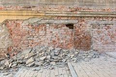 Old broken red brick wall Royalty Free Stock Photo