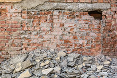 Old broken red brick wall Royalty Free Stock Images