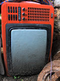 Old broken red TV Stock Photos