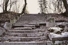 The old broken stairs. Aged stairs up. Royalty Free Stock Photo