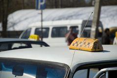 Old broken taxi light Royalty Free Stock Photography