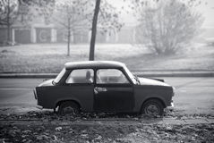 Old Broken Trabant. Car in black and white Stock Photography