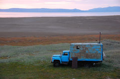 Old broken truck adapted as shed at tundra island Royalty Free Stock Photos