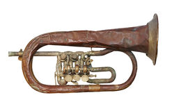 Old broken trumpet - isolated Royalty Free Stock Images