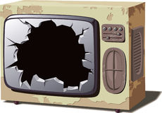 Old broken TV set Stock Image