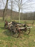 Old broken wagon stock image