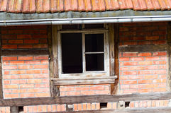 Old and broken window in an old farmhouse royalty free stock photos