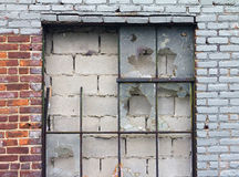 Old Broken Windows and Brick Wall Royalty Free Stock Images
