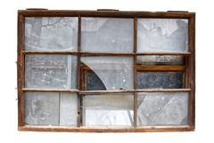 Old Broken Windows isolated in transparent background. Old broken windows isolated in transparent or white background. Wooden frames. Dirty and broken glass Stock Photography