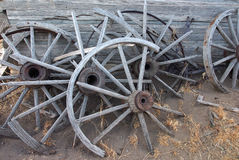Old broken wood wheels Stock Images
