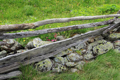 Old broken wooden fence in the mountains Stock Photography