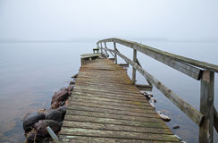 Old broken wooden pier perspective Royalty Free Stock Image