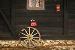 Old broken wooden wheel stock photo