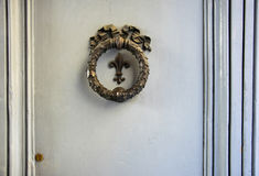 Old bronze architectonic element on a door in Florence, Italy.  royalty free stock photo