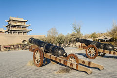 Old  bronze artilleries inside the ancient castle Royalty Free Stock Photos