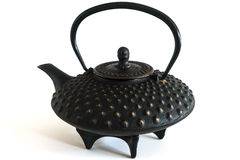 Old bronze asian teapot on the white background Stock Photography