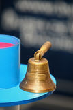 Old bronze bell. Old bronze service hand bell royalty free stock photos