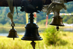 Old bronze bells in indian temple Stock Photo