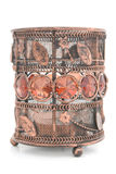 Old bronze candlestick with glass ornaments Stock Image