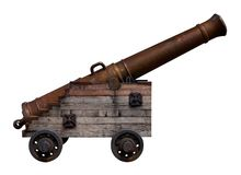 Old bronze cannon on a white background Stock Images