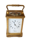 Old bronze clock three. Vintage bronze clock on a white background Royalty Free Stock Photo