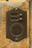 Old Bronze Door Intercom Buzzer Stock Photography