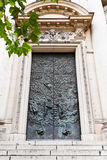 Old bronze doors of church Stock Image
