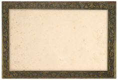 Old Bronze Frame. Ancient bronze frame with old paper isolated over white background royalty free stock images