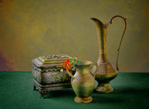Old bronze jug Stock Images