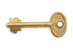 Old bronze key isolated. Stock Image