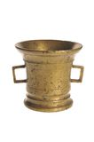 Old bronze mortar. Old a bronze mortar on a white background stock photo