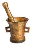 Old bronze mortar. And pestle isolated on white background stock photography