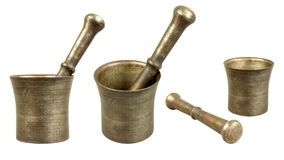 Old bronze mortar with pestle Stock Image