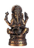 Old Bronze Statuette Of Hindu God Ganesha With Book Isolated On White Background