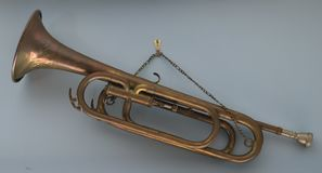 Old bronze trumpet stock photos